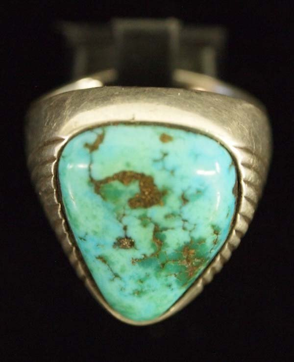 Large Navajo Silver Turquoise Man's Ring, Size 11