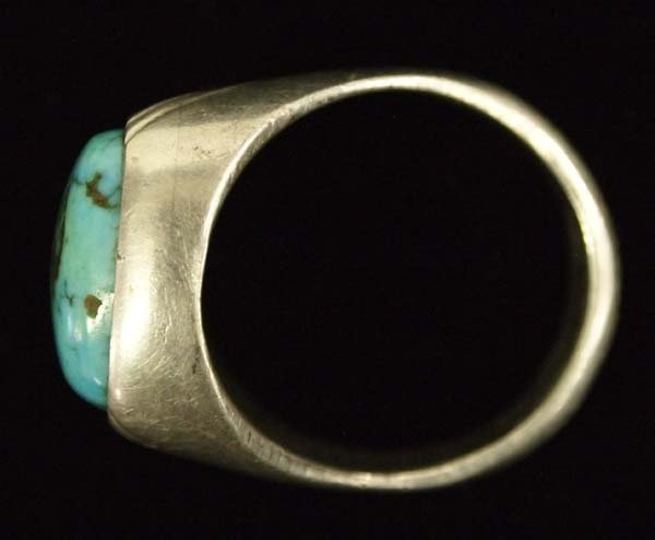 Large Navajo Silver Turquoise Man's Ring, Size 11 - 3
