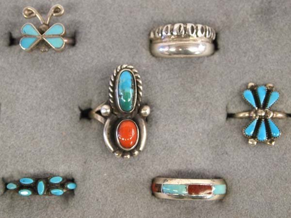 6 Sterling Silver Rings, most are Native American