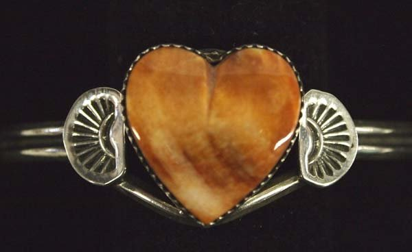 Navajo Sterling and Red Spiny Shell Bracelet