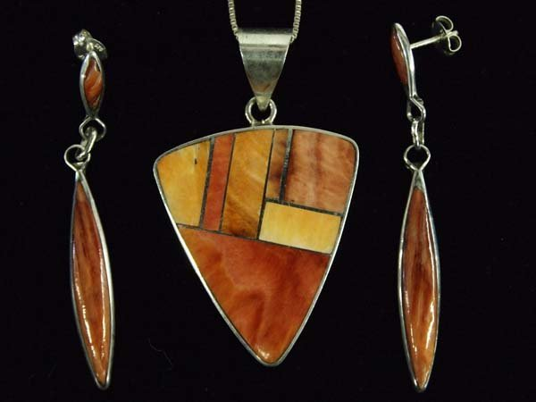 Native American Silver Red Shell Necklace + Earrings