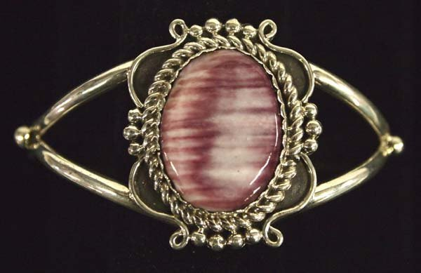 Navajo Sterling and Purple Shell Cuff Bracelet