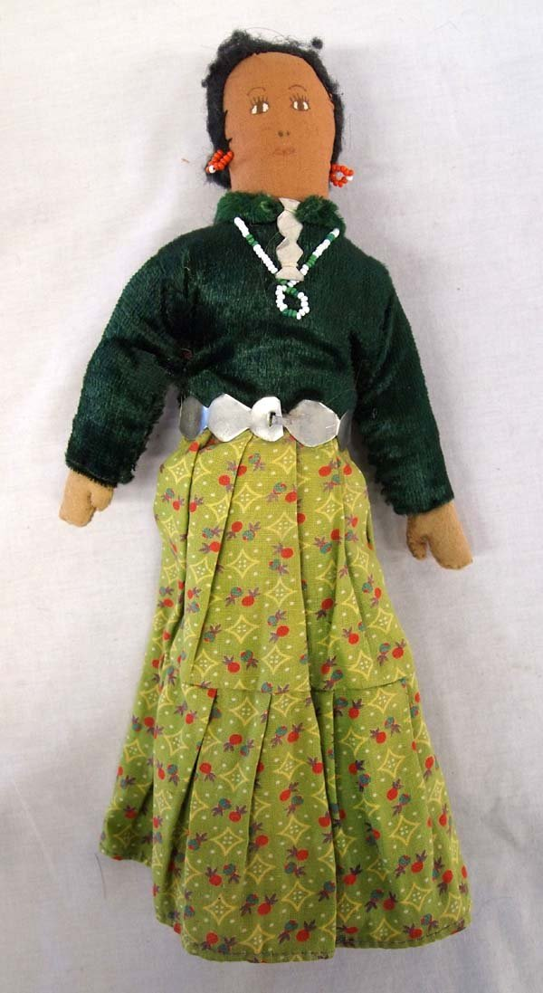Vintage Navajo Girl Cloth Doll, Traditional Dress