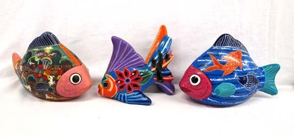 3 Decorative Hand Painted Pottery Fishes