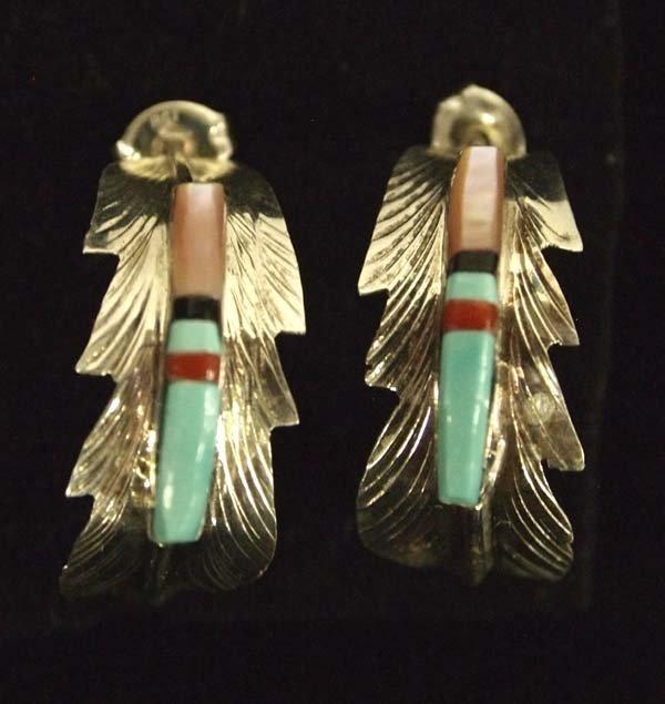 Native American Navajo Sterling Inlay Earrings