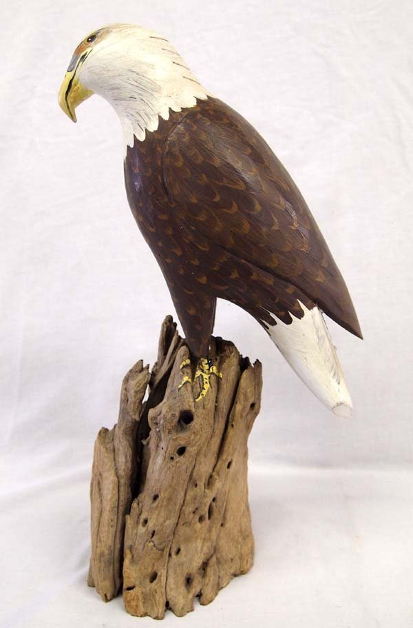 1958 Carved Hand Painted Wooden Bald Eagle - 4
