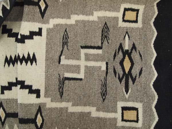 Navajo Storm Pattern Wool Textile Rug - 2
