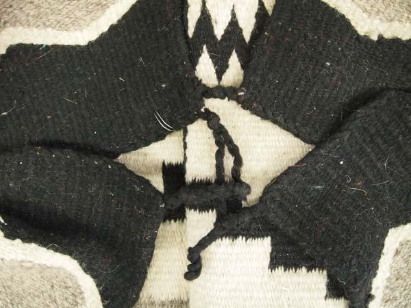 Navajo Storm Pattern Wool Textile Rug - 3