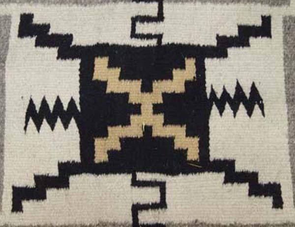 Navajo Storm Pattern Wool Textile Rug - 4