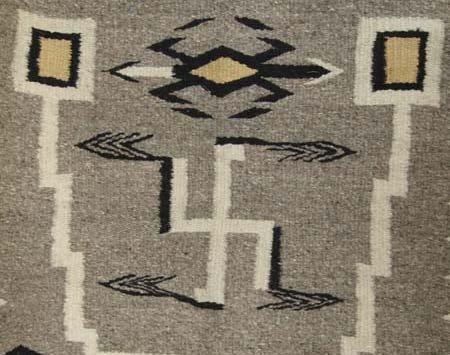 Navajo Storm Pattern Wool Textile Rug - 5
