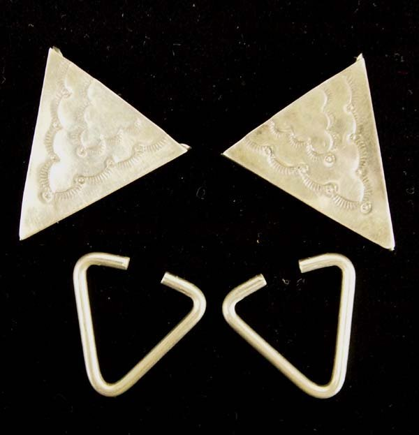 Native American Navajo Sterling Silver Collar Tips