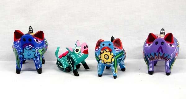 4 Mexican Oaxacan Alebrije Pigs