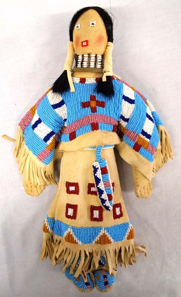 Native American Lakota Sioux Beaded Deerskin Doll
