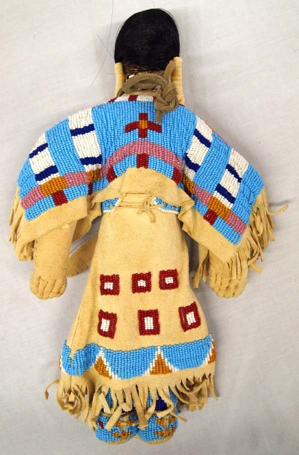 Native American Lakota Sioux Beaded Deerskin Doll - 2