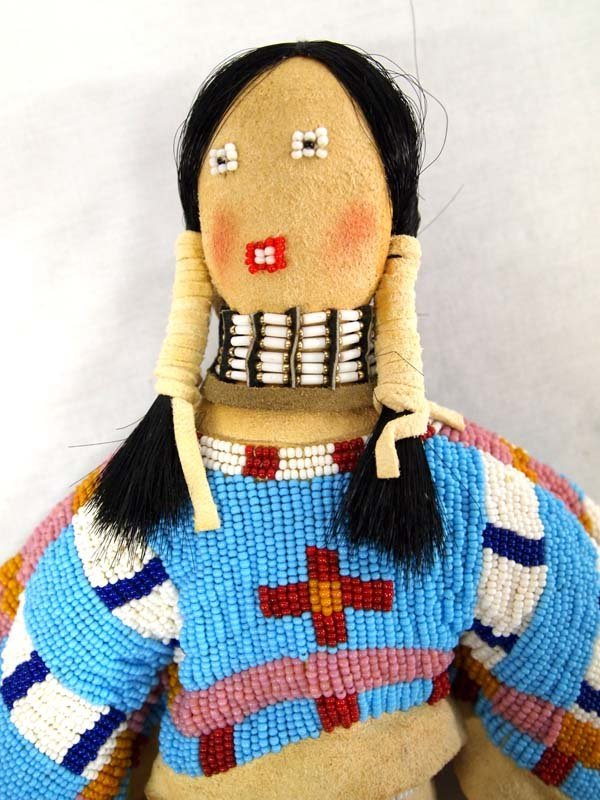 Native American Lakota Sioux Beaded Deerskin Doll - 3