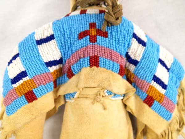 Native American Lakota Sioux Beaded Deerskin Doll - 5