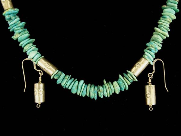 Navajo Silver Turquoise Necklace and Earrings