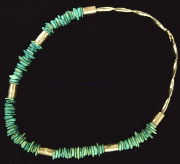 Navajo Silver Turquoise Necklace and Earrings - 2