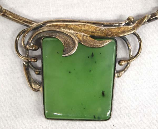 Antique Estate Sterling Silver and Jade Necklace