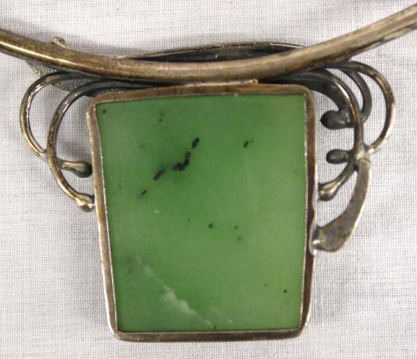 Antique Estate Sterling Silver and Jade Necklace - 4