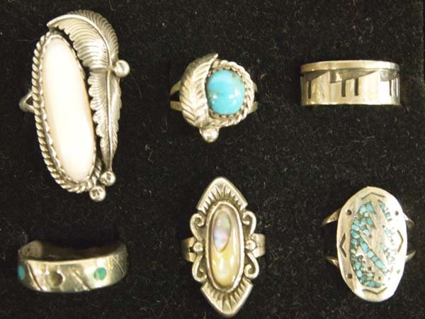 6 Native American Sterling Silver Rings
