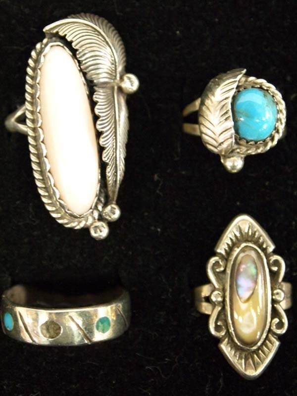 6 Native American Sterling Silver Rings - 2