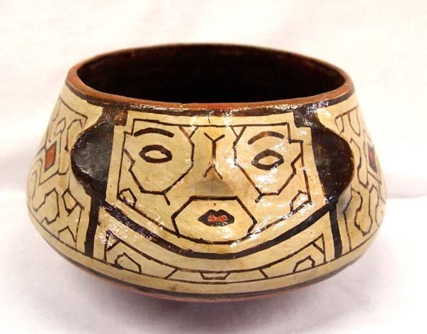 South American Shipibo Raised Face Rattle Bowl