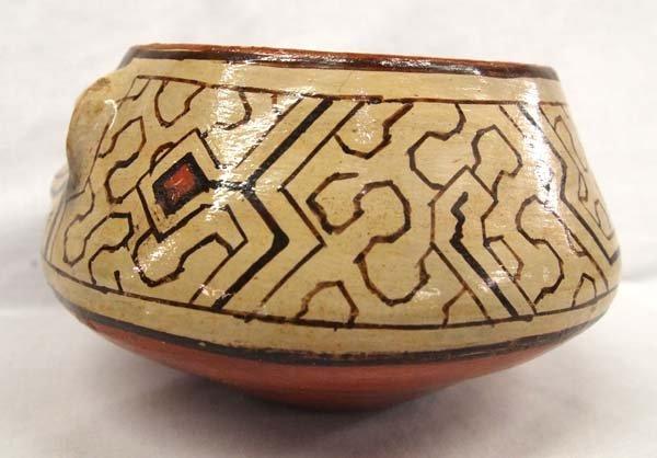 South American Shipibo Raised Face Rattle Bowl - 2