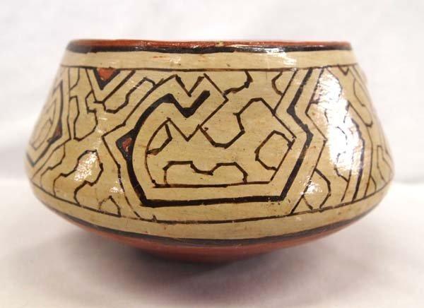 South American Shipibo Raised Face Rattle Bowl - 3