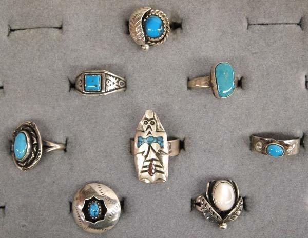 8 Native American Navajo Sterling Silver Rings