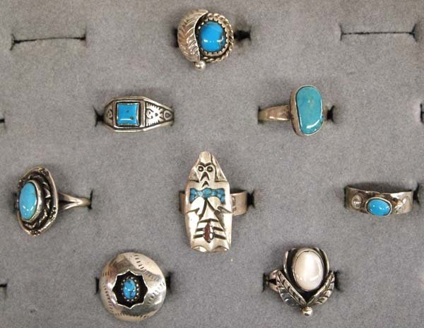 8 Native American Navajo Sterling Silver Rings