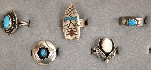 8 Native American Navajo Sterling Silver Rings - 3