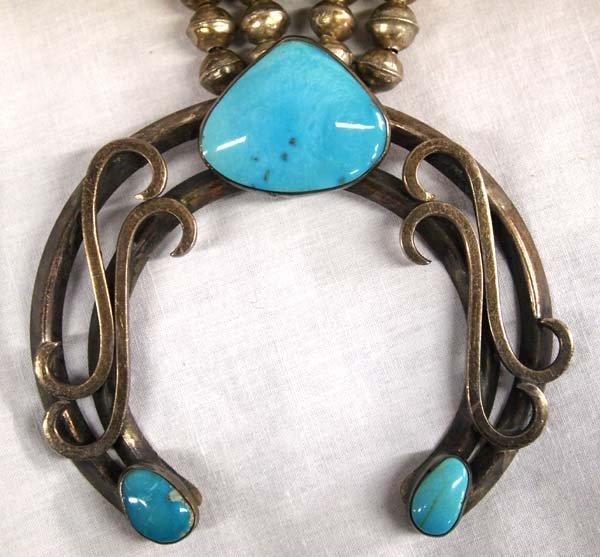 1940-1950 Navajo Silver Turquoise Squash Necklace