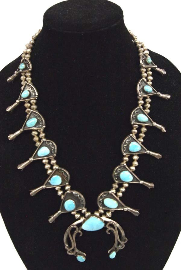 1940-1950 Navajo Silver Turquoise Squash Necklace - 2