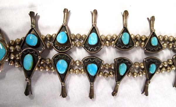 1940-1950 Navajo Silver Turquoise Squash Necklace - 3