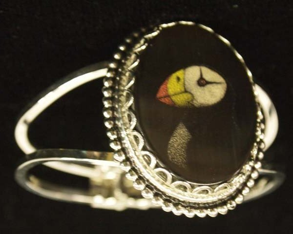 Northwest Coast Puffin Bird Inlay Cuff Bracelet