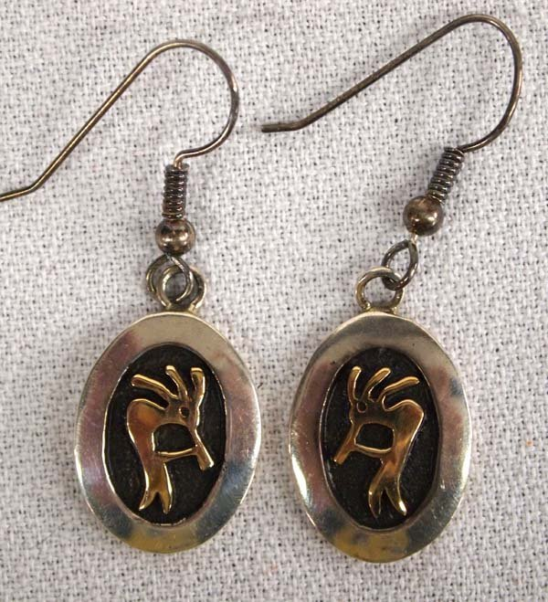 Hopi 14K Gold on Silver Earrings by M M Rogers