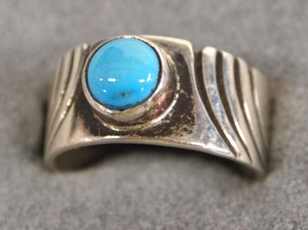 Native American Navajo Sterling Turquoise Ring, 6