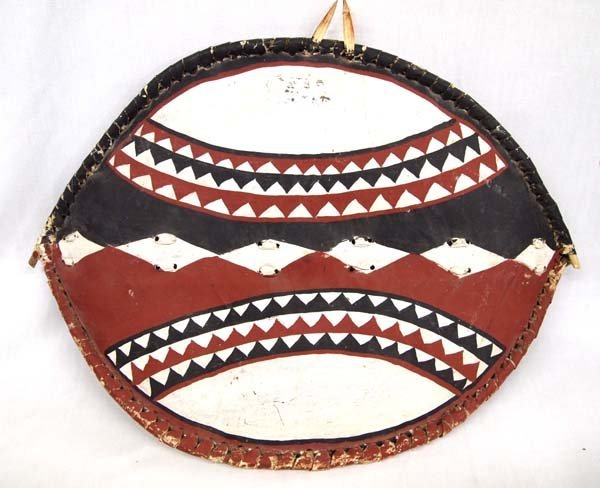 Hand Crafted African Leather and Wood Shield