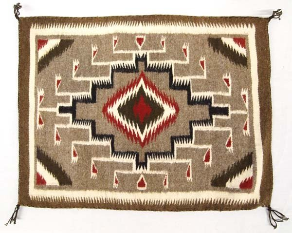 1980 Native American Navajo Two Grey Hills Rug