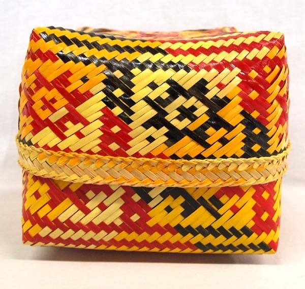 Native American Chitimacha Lidded Basket