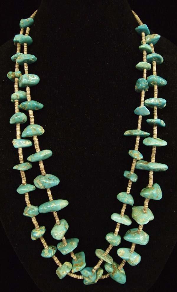 1940 Navajo 2 Strand Turquoise & Heishi Necklace