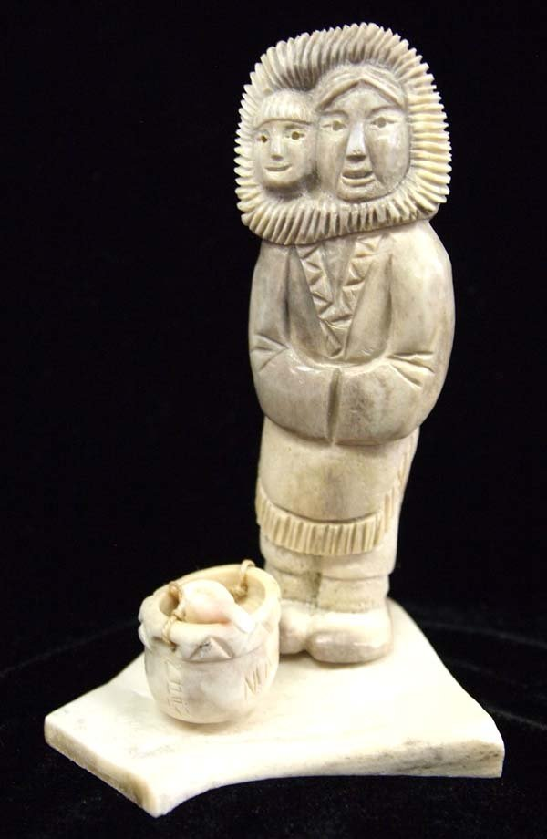Canadian Inuit Carved Antler Mother and Child