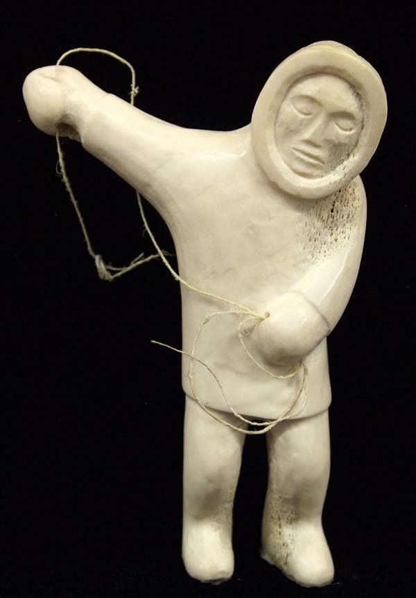 Canadian Inuit Carved Bone Fisherman