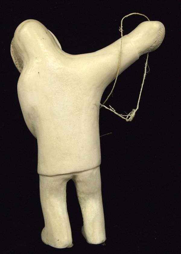 Canadian Inuit Carved Bone Fisherman - 3