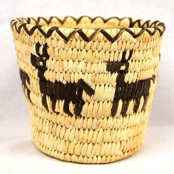 Tohono O'odham Woven Split Stitch Deer Basket