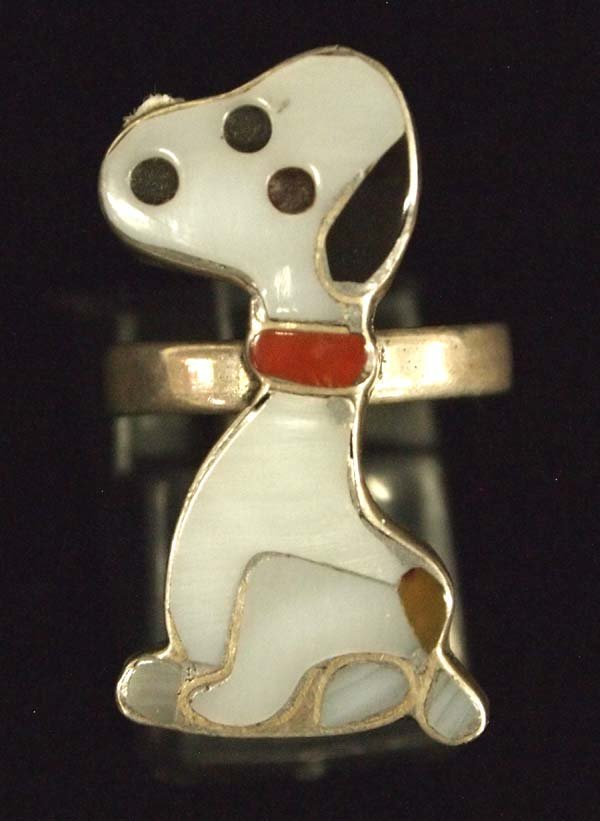 Zuni Sterling Channel Inlay Snoopy Ring, Size 4.5