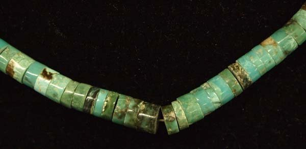 Navajo Sterling Silver Turquoise Heishi Choker