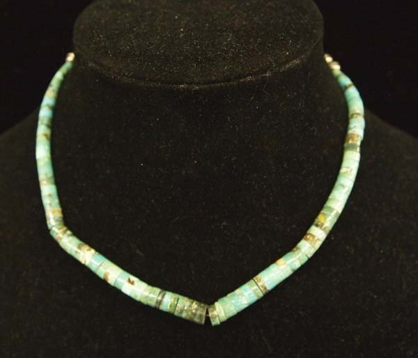 Navajo Sterling Silver Turquoise Heishi Choker - 2