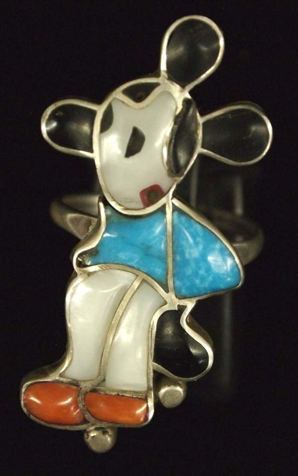 Zuni Silver Inlay Mickey Mouse Ring, Size 7.75